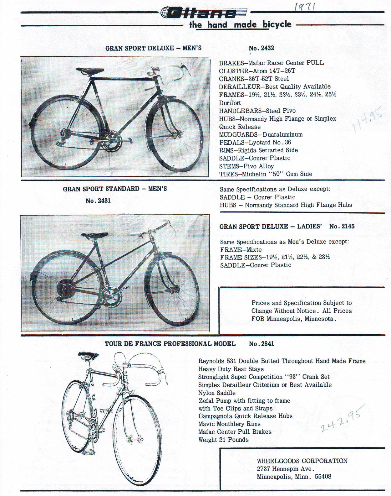 gitane tour de france 1972 1971-Price-Sheet-001